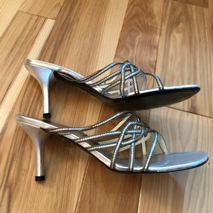 Stuart Weitzman Hypnosis Silver Square Toe Heels